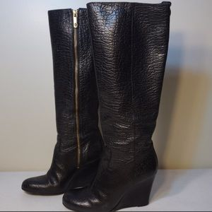 Tory Burch Black Dabney Wedge Boots